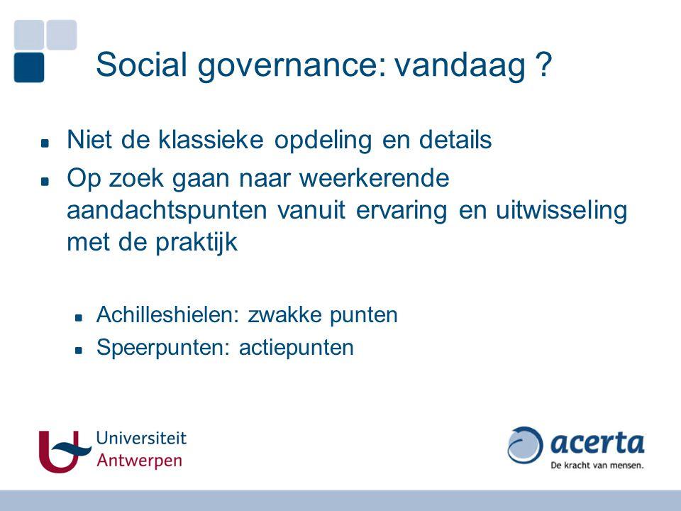 Social governance: vandaag