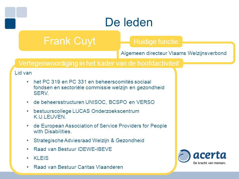 De leden Frank Cuyt Huidige functie: