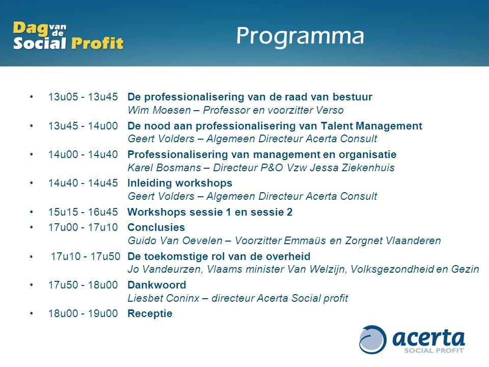 Programma 13u05 - 13u45 De professionalisering van de raad van bestuur Wim Moesen – Professor en voorzitter Verso.