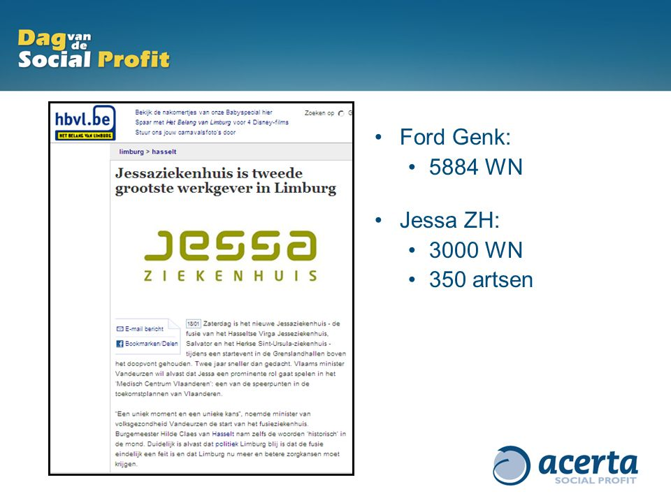 Ford Genk: 5884 WN Jessa ZH: 3000 WN 350 artsen