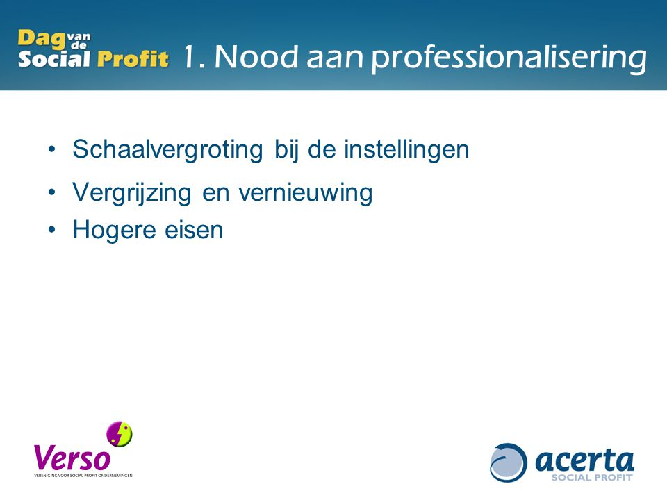 1. Nood aan professionalisering