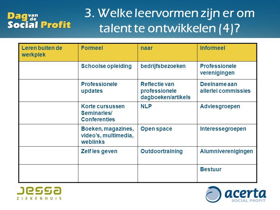 3. Welke leervormen zijn er om talent te ontwikkelen (4)