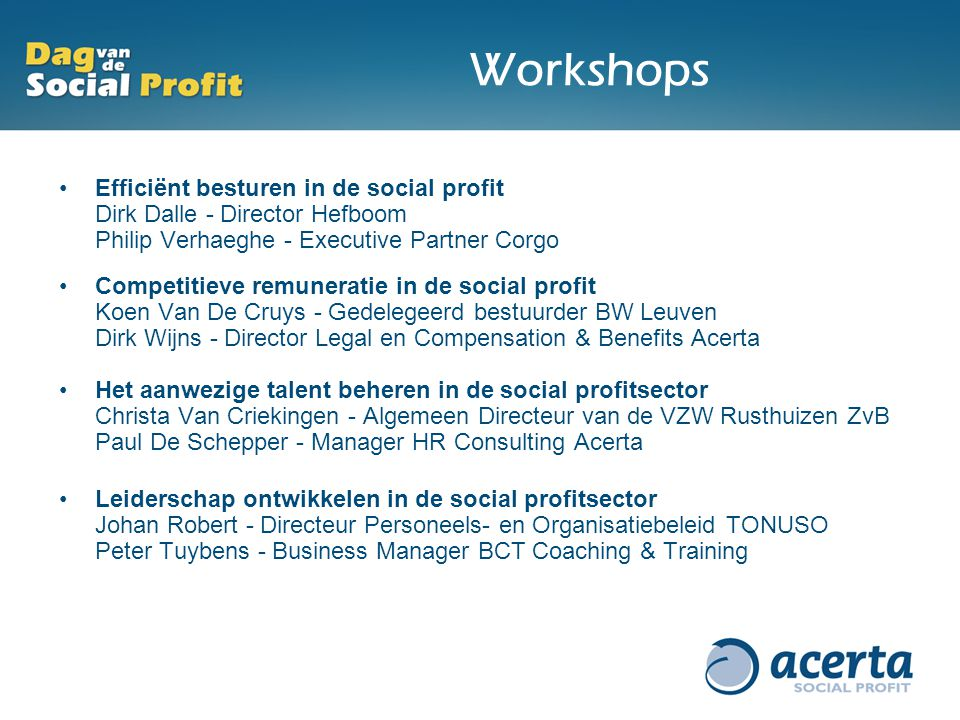 Workshops Efficiënt besturen in de social profit