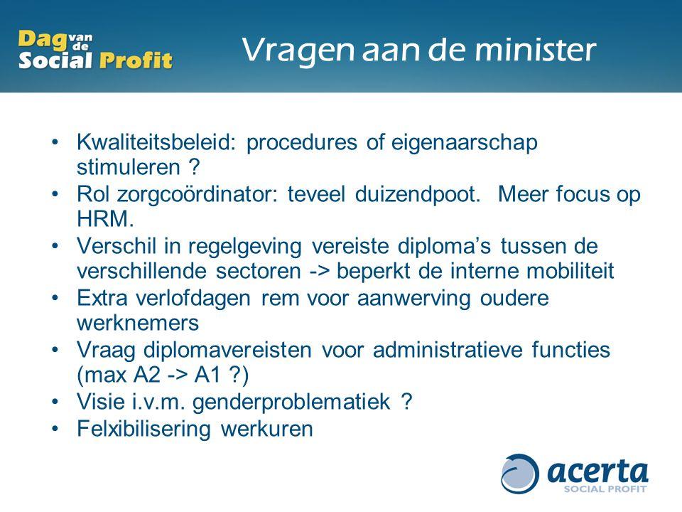 Vragen aan de minister Kwaliteitsbeleid: procedures of eigenaarschap stimuleren Rol zorgcoördinator: teveel duizendpoot. Meer focus op HRM.