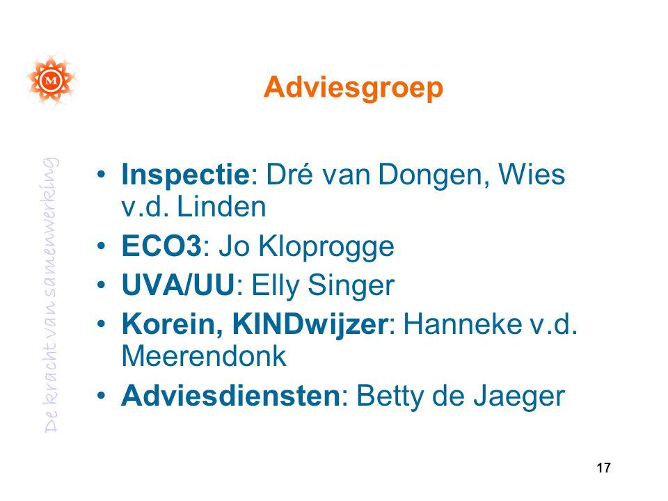 Adviesgroep Inspectie: Dré van Dongen, Wies v.d. Linden. ECO3: Jo Kloprogge. UVA/UU: Elly Singer.