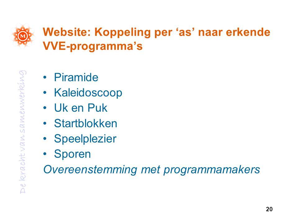 Website: Koppeling per 'as' naar erkende VVE-programma's