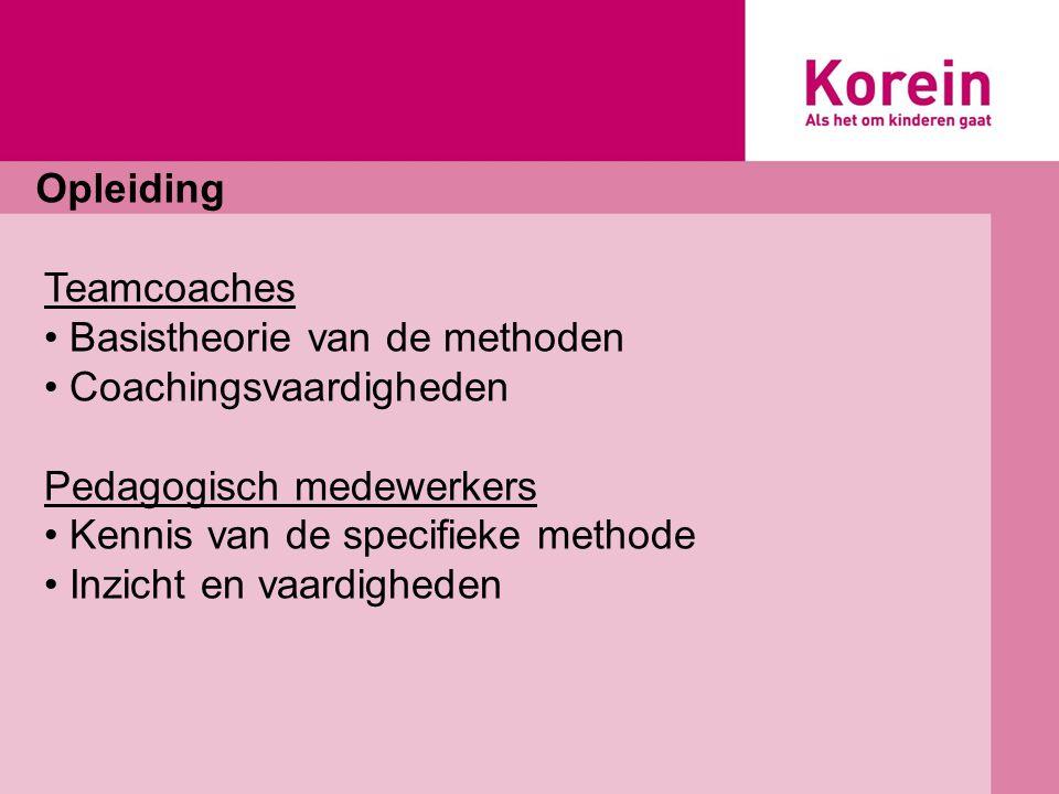 Opleiding Teamcoaches. Basistheorie van de methoden. Coachingsvaardigheden. Pedagogisch medewerkers.
