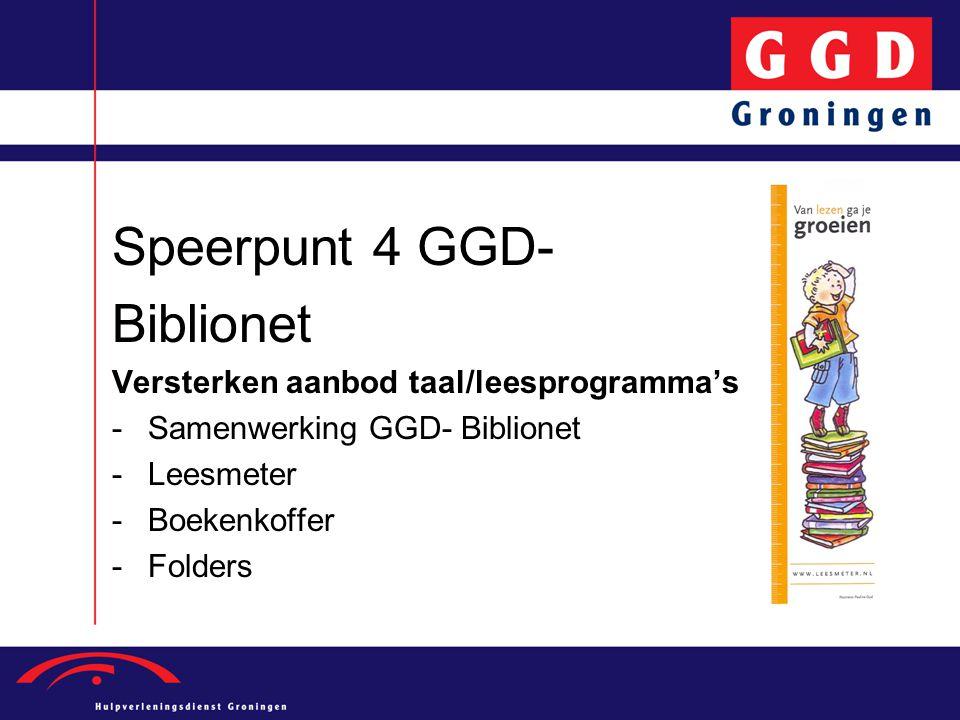 Speerpunt 4 GGD- Biblionet Versterken aanbod taal/leesprogramma's