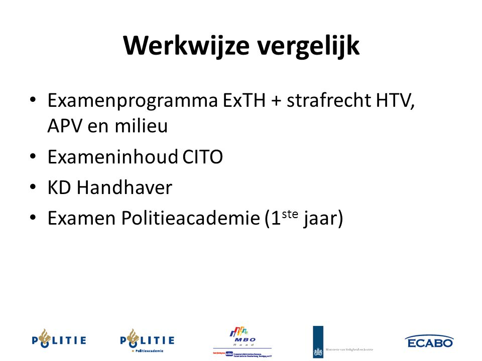 Werkwijze vergelijk Examenprogramma ExTH + strafrecht HTV, APV en milieu. Exameninhoud CITO. KD Handhaver.