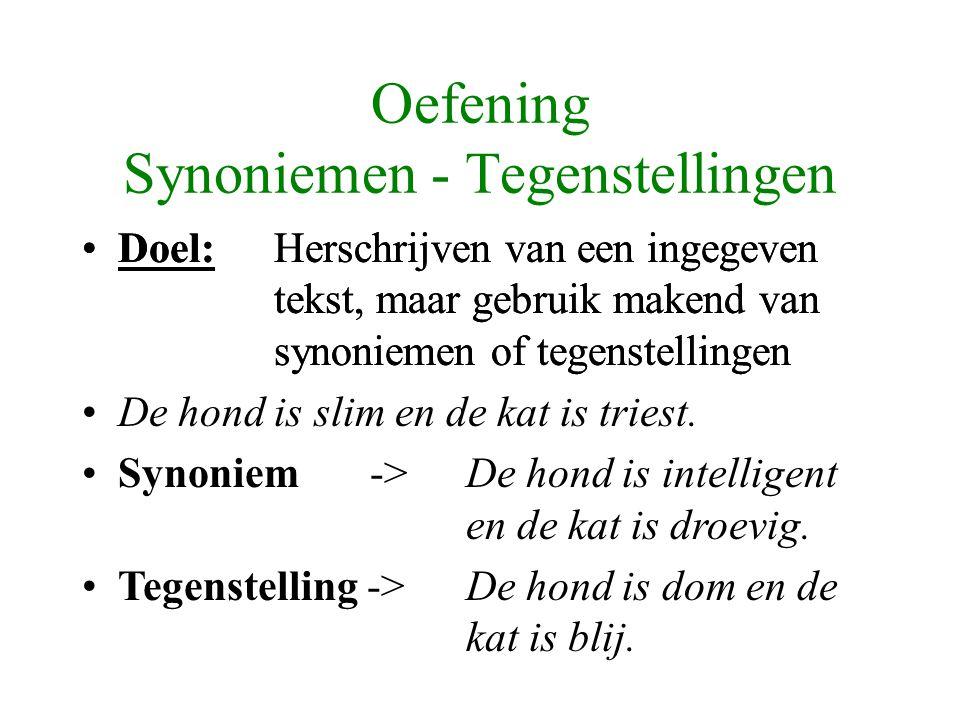 Oefening Synoniemen - Tegenstellingen