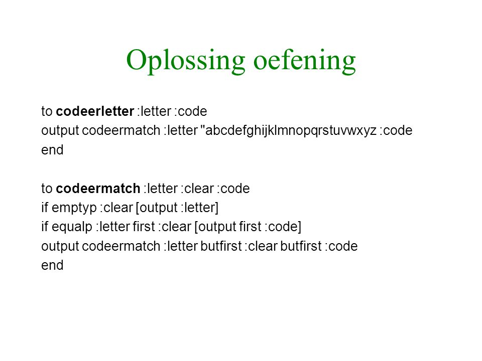 Oplossing oefening to codeerletter :letter :code