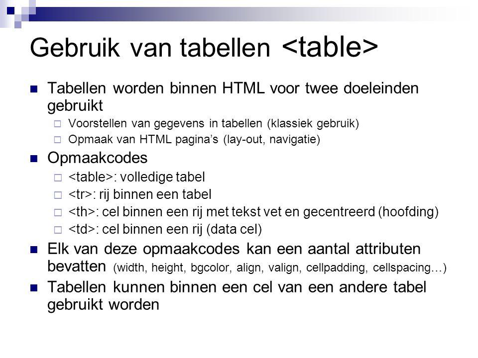 Gebruik van tabellen <table>