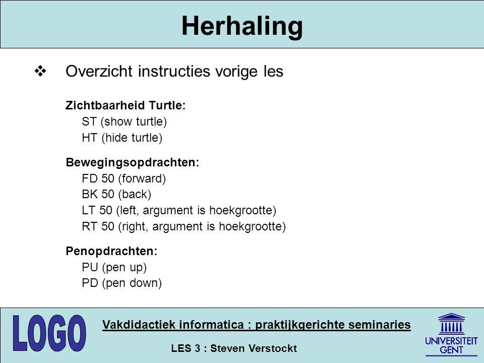 Herhaling Overzicht instructies vorige les ST (show turtle)