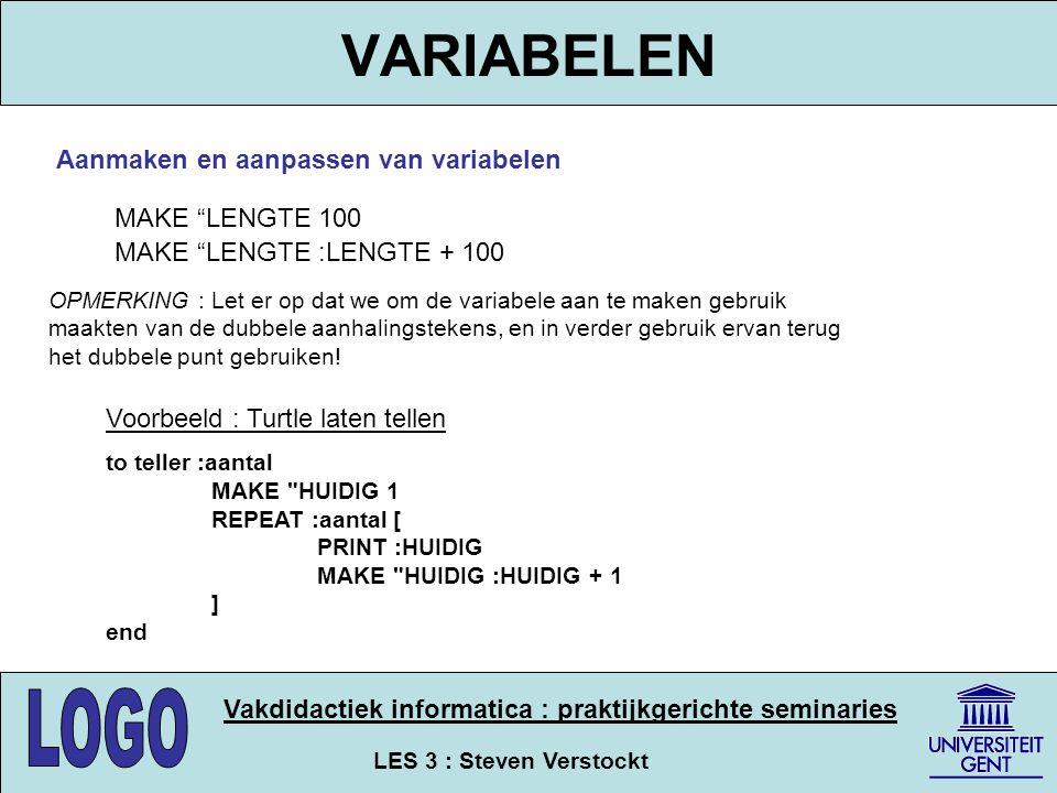 VARIABELEN Aanmaken en aanpassen van variabelen MAKE LENGTE 100