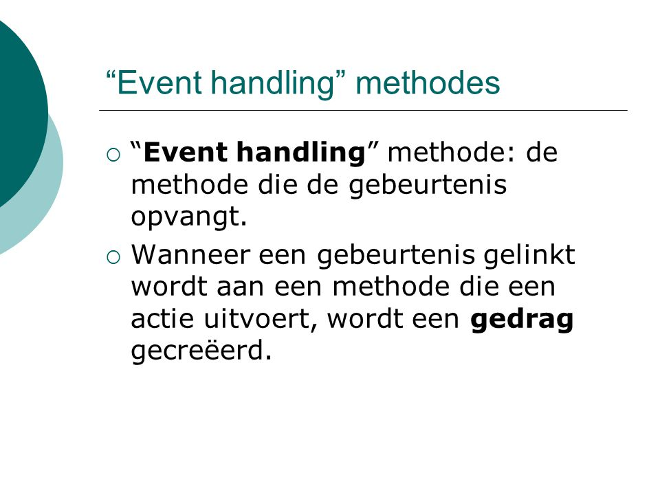 Event handling methodes