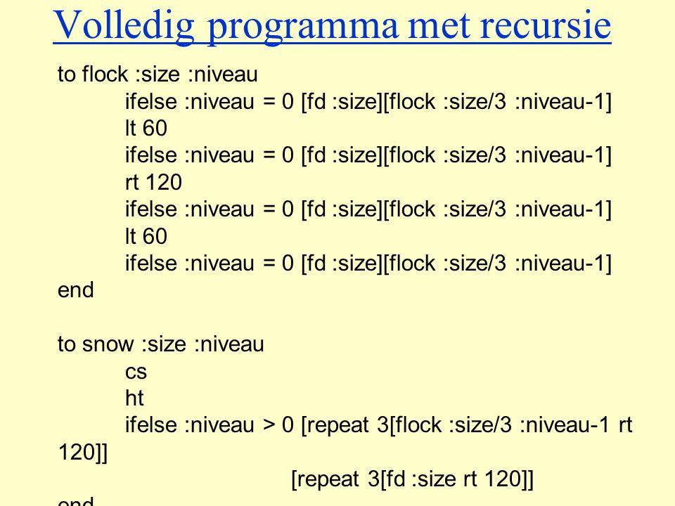 Volledig programma met recursie