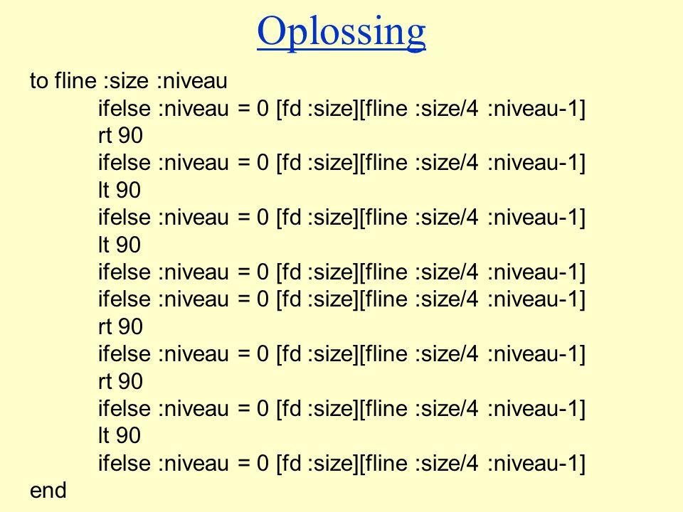Oplossing to fline :size :niveau