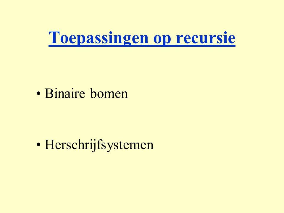 Toepassingen op recursie