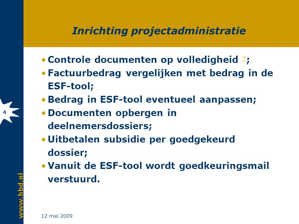 Overige projectadministratie