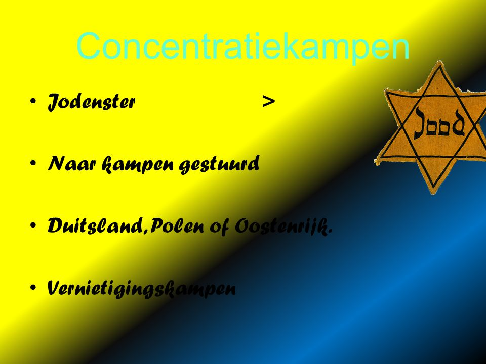 Concentratiekampen Jodenster > Naar kampen gestuurd