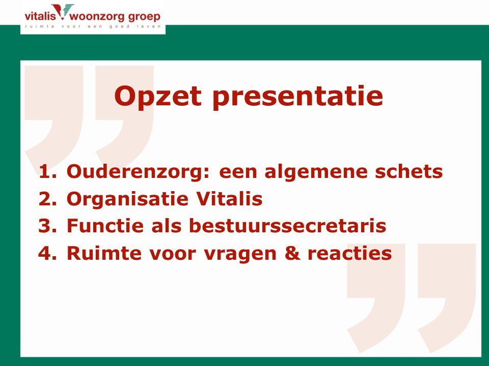 Opzet presentatie Ouderenzorg: een algemene schets Organisatie Vitalis