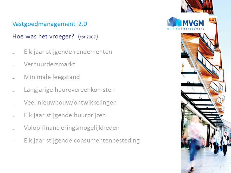 Vastgoedmanagement 2.0 Hoe was het vroeger (tot 2007) Elk jaar stijgende rendementen. Verhuurdersmarkt.