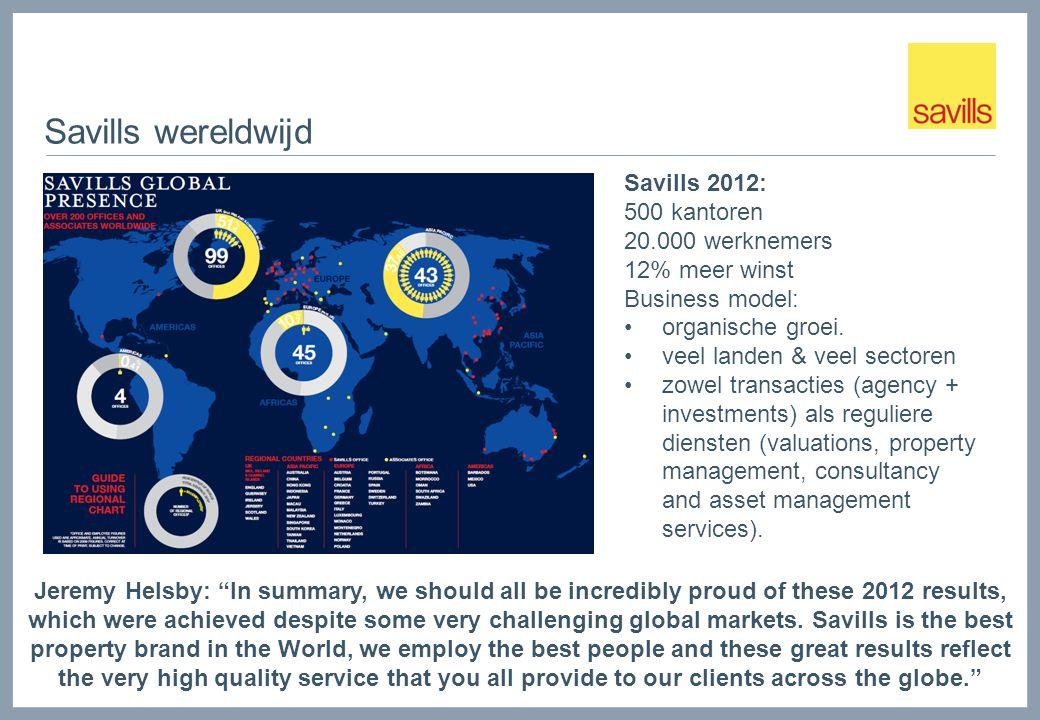 Savills wereldwijd Savills 2012: 500 kantoren 20.000 werknemers