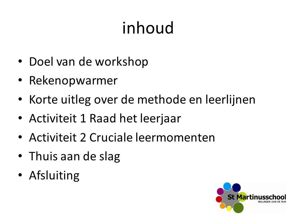inhoud Doel van de workshop Rekenopwarmer