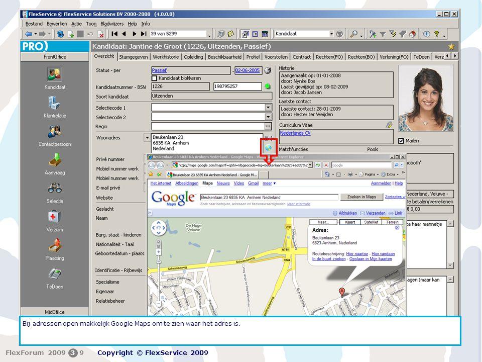 Bij adressen open makkelijk Google Maps om te zien waar het adres is.