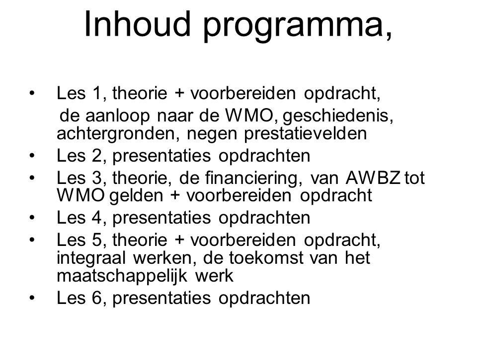 Inhoud programma, Les 1, theorie + voorbereiden opdracht,