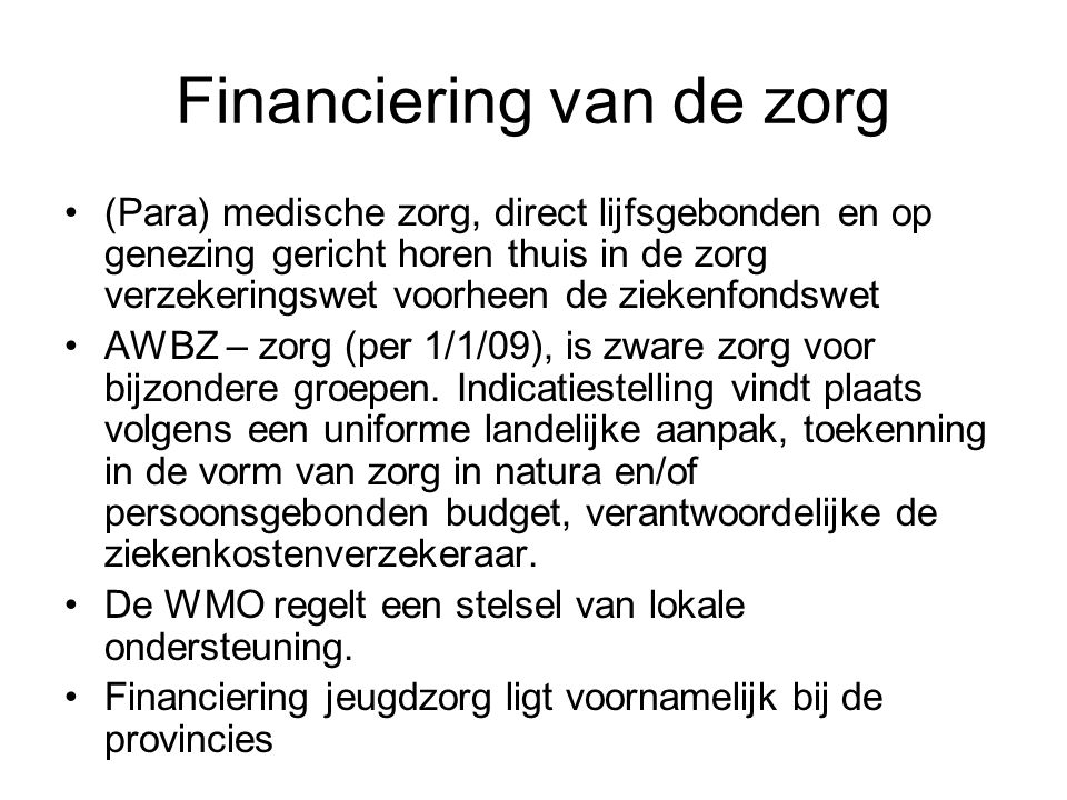 Financiering van de zorg