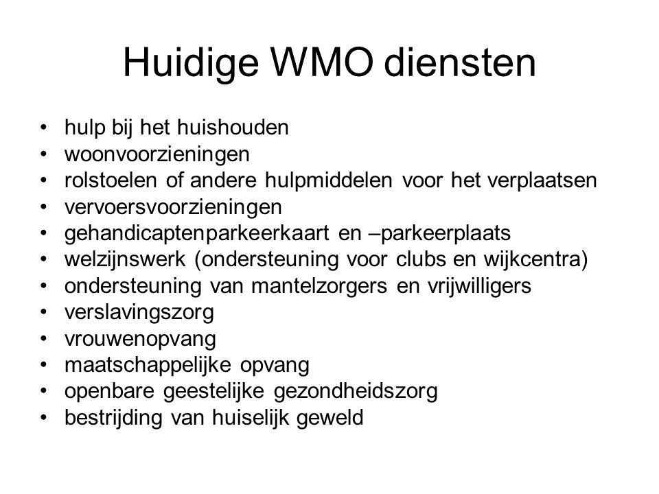 Huidige WMO diensten hulp bij het huishouden woonvoorzieningen