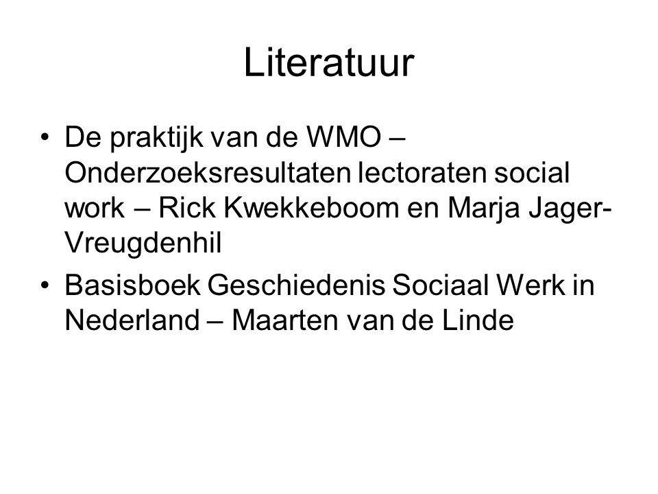 Literatuur De praktijk van de WMO – Onderzoeksresultaten lectoraten social work – Rick Kwekkeboom en Marja Jager-Vreugdenhil.