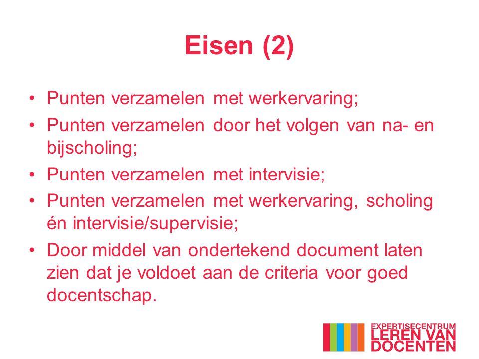 Eisen (2) Punten verzamelen met werkervaring;