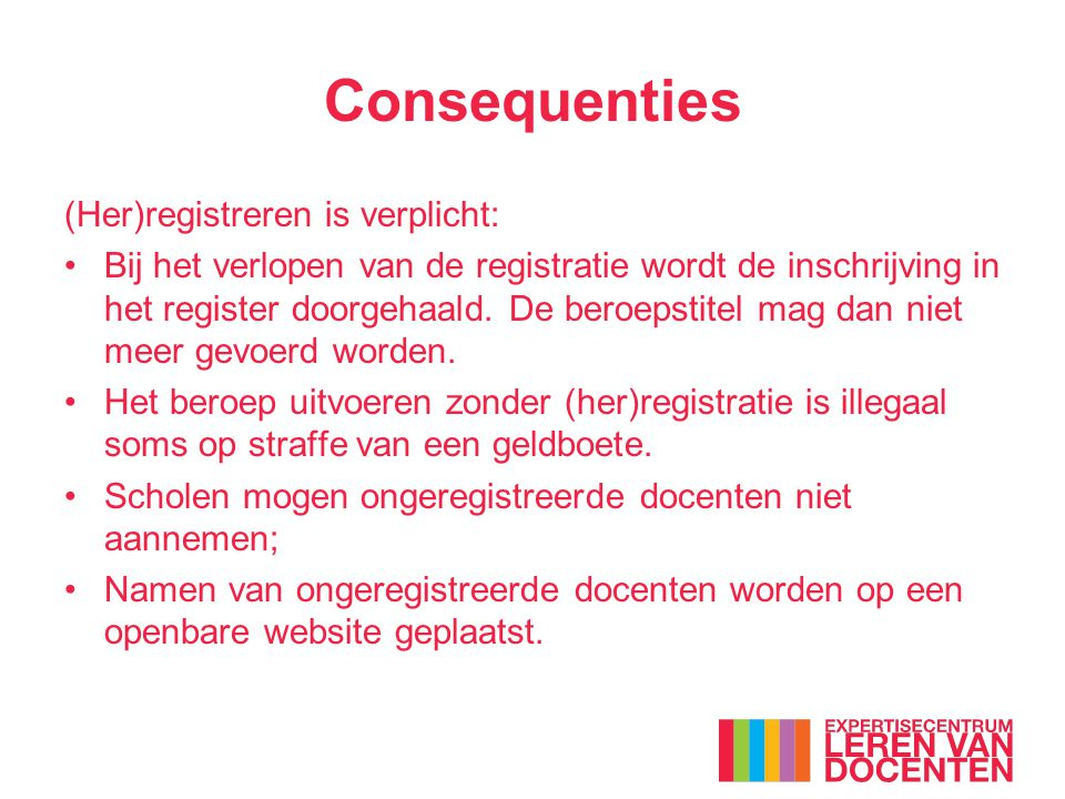 Consequenties (Her)registreren is verplicht: