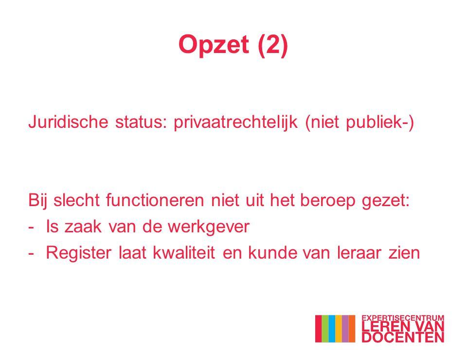 Opzet (2) Juridische status: privaatrechtelijk (niet publiek-)