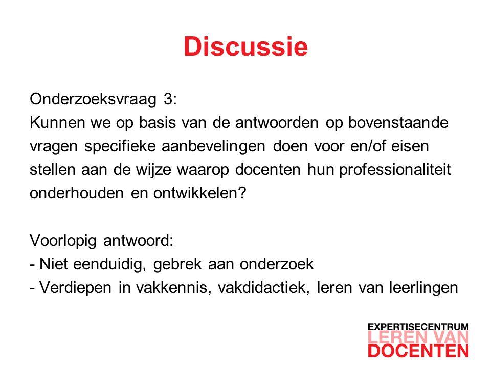 Discussie Onderzoeksvraag 3:
