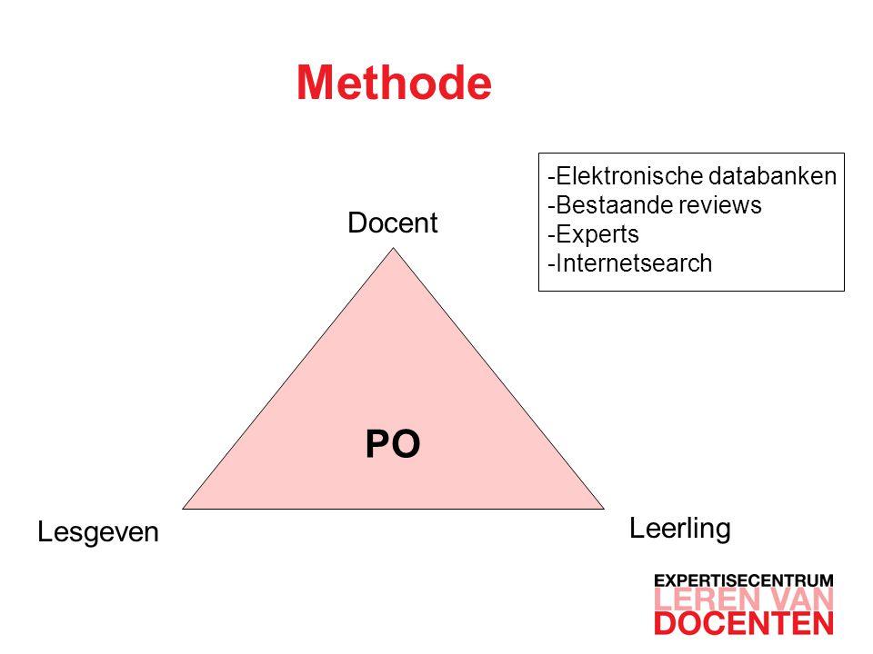 Methode PO Docent Lesgeven Leerling Elektronische databanken