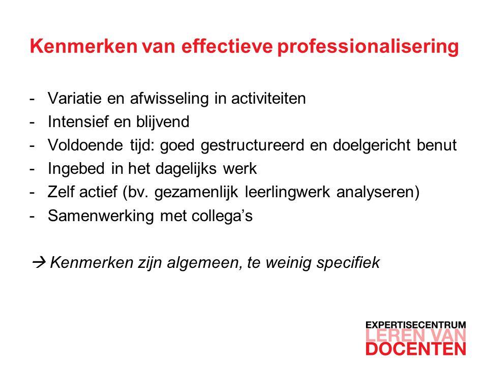 Kenmerken van effectieve professionalisering