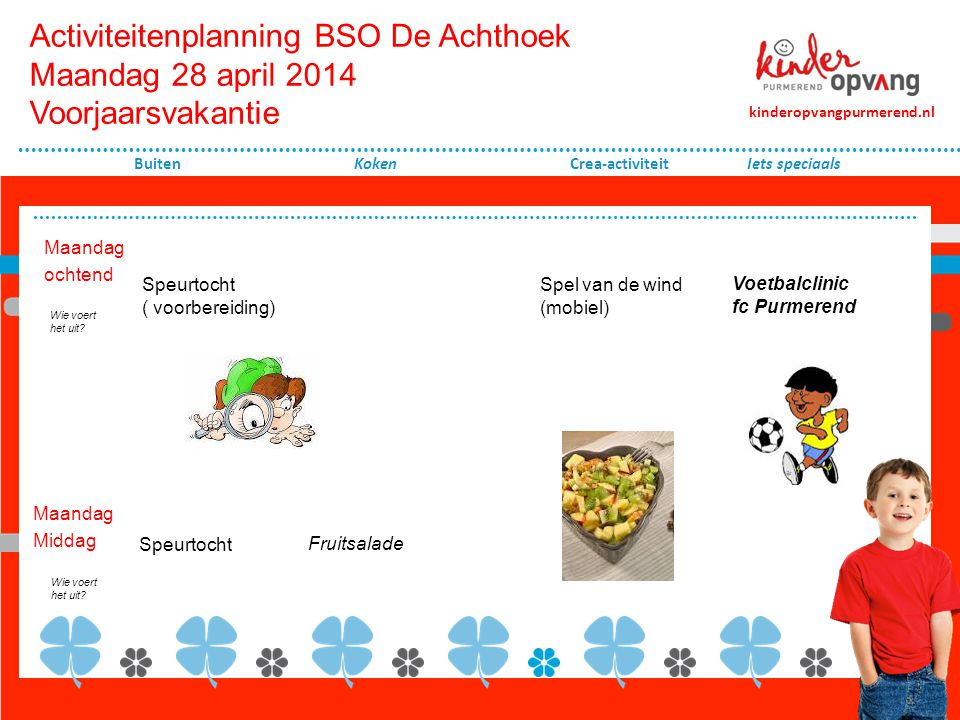 Activiteitenplanning BSO De Achthoek Maandag 28 april 2014 Voorjaarsvakantie