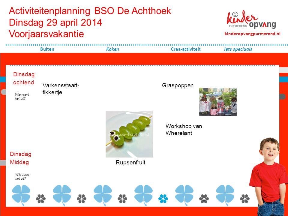 Activiteitenplanning BSO De Achthoek Dinsdag 29 april 2014 Voorjaarsvakantie
