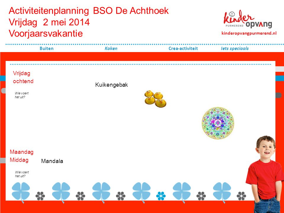Activiteitenplanning BSO De Achthoek Vrijdag 2 mei 2014 Voorjaarsvakantie