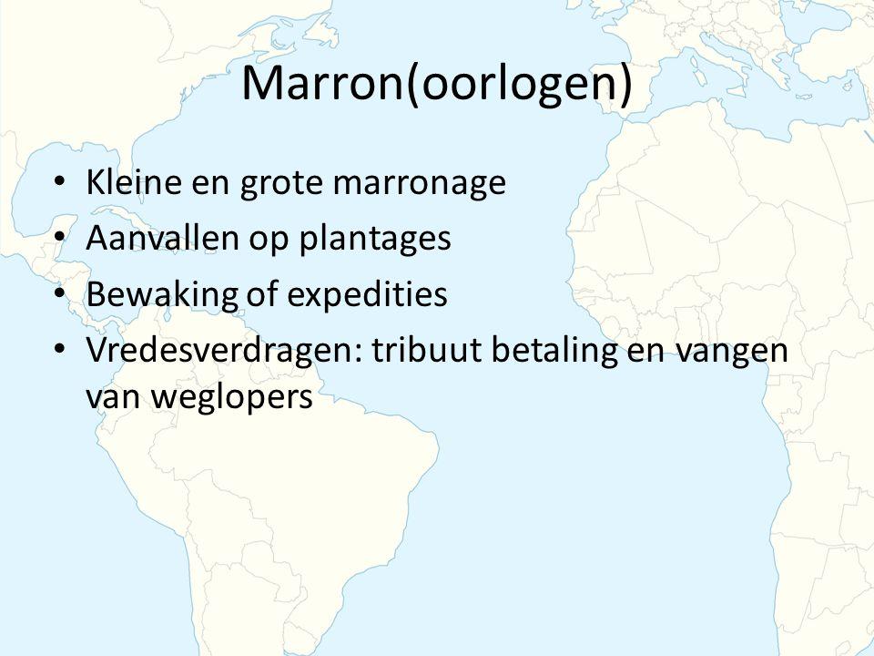 Marron(oorlogen) Kleine en grote marronage Aanvallen op plantages
