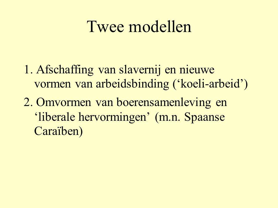 Twee modellen 1. Afschaffing van slavernij en nieuwe vormen van arbeidsbinding ('koeli-arbeid')