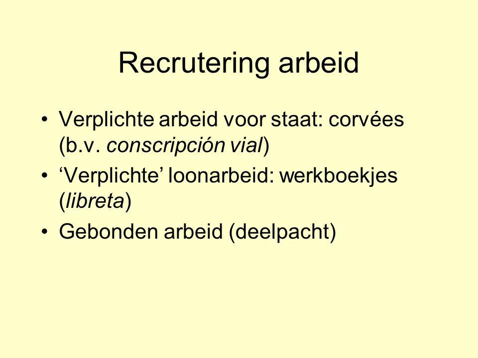 Recrutering arbeid Verplichte arbeid voor staat: corvées (b.v. conscripción vial) 'Verplichte' loonarbeid: werkboekjes (libreta)