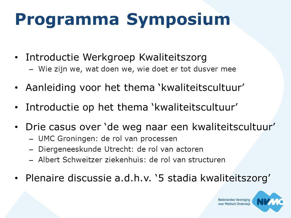 Programma Symposium Introductie Werkgroep Kwaliteitszorg
