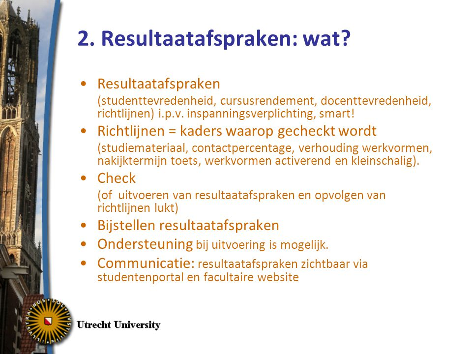 2. Resultaatafspraken: wat