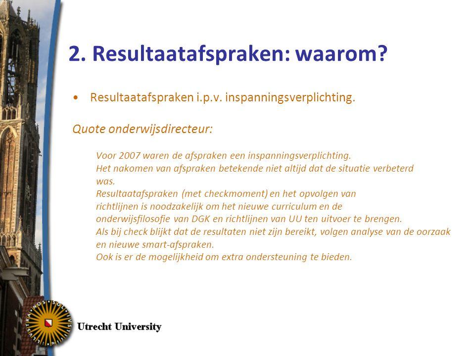 2. Resultaatafspraken: waarom