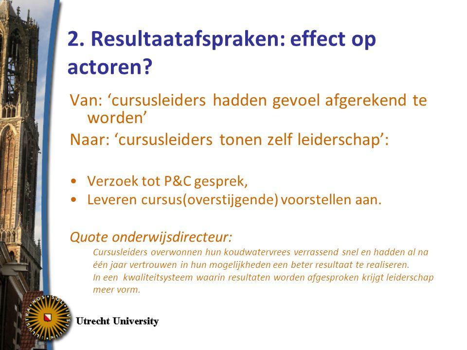 2. Resultaatafspraken: effect op actoren