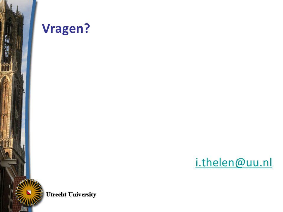 Vragen i.thelen@uu.nl